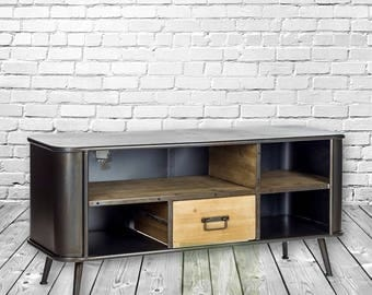 Loft/Industrial Style Metal & Wood Media Unit/Tv stand.