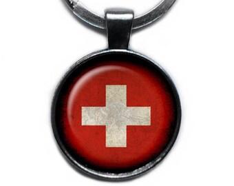 Switzerland Swiss Flag Keychain Keyring