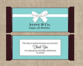 12 Large Personalized Hershey Candy Bar Wrappers - Breakfast at Tiffanies  - Breakfast at Tiffanies Decor - Robins Egg Blue Color