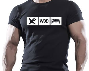 Eat WOD Sleep mma fighting workout motivation mens t-shirt