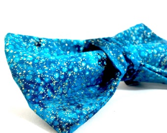 Metallic Blue Celestial Dog Bow - Fancy Blue Dog bow  - bow tie - Teal Wedding bow tie - Matching bow and collar - Dog accessories
