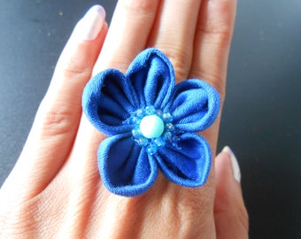 Blue Kanzashi ring