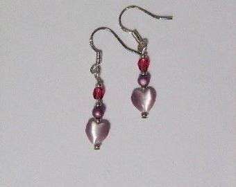 Purple Heart and Pearl Earrings
