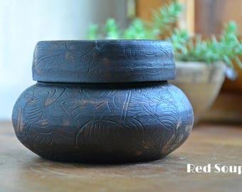 Ceramic container, clay sugar or salt holder, stoneware honey or jam pot