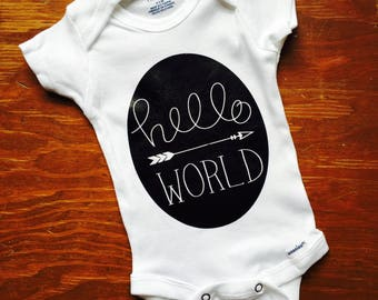 hello world onesie, newborn onesie, newborn coming home outfit, baby boy onesie, baby girl onesie, baby shower gift