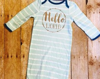 Hello World gown, Baby girl gown, baby boy gown, newborn outfit, baby gift, baby shower gift, coming home outfit