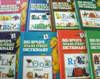 Big Bird's Sesame Street Dictionary, 8 Volumes, Vintage 1980s Children's Book, Funk and Wagnalls