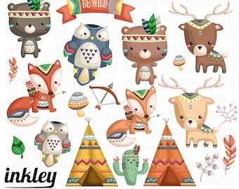 50%OFF!! Tribal Animal Clipart - Cute Clipart, Animal Clipart, Fun Clipart, Clipart Set, Adorable Digital Clip Art