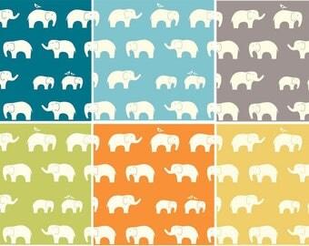 Birch Organic cotton Ellie fam Elephant Fabric