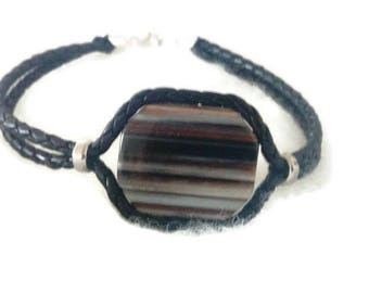 """Bracelet men black agate and black braided leather """"father's day"""""""