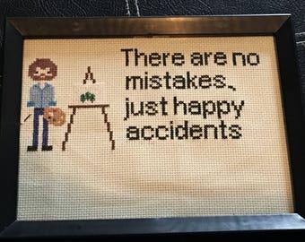 Funny Bob Ross cross stitch