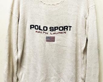 VINTAGE RALPH LAUREN polo sport usa flag knit sweatshirt sweater stadium p wing
