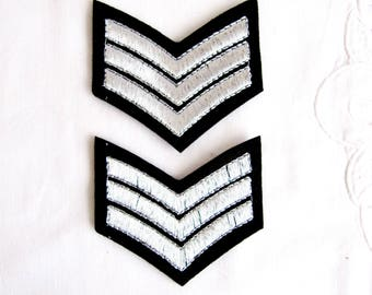 Iron On Cerva Silver Emblem,Braid Military StripeWith aviation tagGrade custom,Iron On Embroidered Patches,Silver Applique,Silver Army Patch