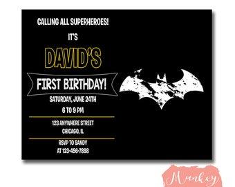 BATMAN BIRTHDAY Invitation, BatMan Invitation, Batman Birthday, Batman party, Superhero Birthday, Superhero Party, Batman Birthday Invite