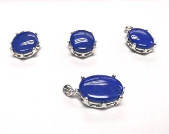 10x12 MM Lapis Lazuli Cabs Pendent Silver 92.5%