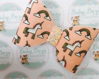 Pretty Peach Unicorn Fabric Bow  -Hairbows-Hairbands-Bows-Girls Hairbow