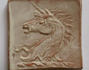 Unicorn tile, unicorn family crest, heraldry, bespoke, 10cm tile