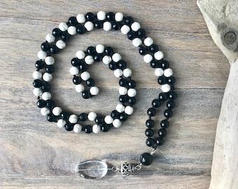Positive Calming Onyx and Howlite 108 Bead Mala/Meditation Beads/Japa Mala/Knotted Mala/Necklace/Mala Beads/Mens Mala Necklace