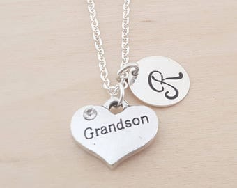 Grandson - Heart Charm - Personalized Necklace - Custom Initial Necklace- Silver Necklace