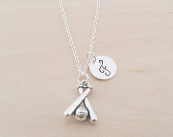 Baseball Necklace - Crossed Bats Necklace-  Silver Necklace - Personalized Necklace - Initial Necklace - Custom Jewelry - Personalized