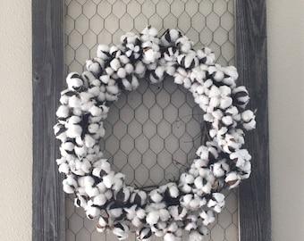"18"" or 14"" Cotton Wreaths, Raw Cotton Wreath, Cotton Boll Wreath, Farmhouse Wreath, Country Wreath, Cotton Decor, Rustic Cotton Wreath"
