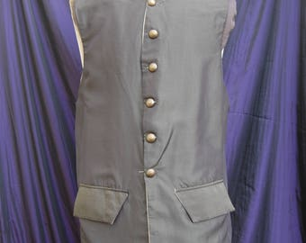 pirate waistcoat (vest) long 18th Century . olive green taffeta pirate costume