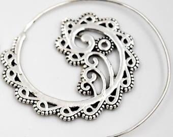 Spiral  Leaves and arabesques earrings, ethinic earrings, silver earings, Bohemian earrings, Gifts for her, boho chic earrings