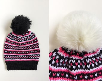 Knit Fair Isle Faux Fur Pompom Hat - Pink White Black Hat - Christmas Gift For Her - Knit Fur Pompom Beanie - Knit Toque - Women's Beanie