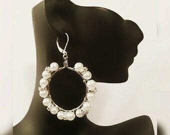 White Pearl Silver Hoop Earrings