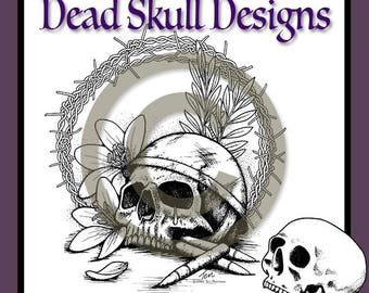 Peace Not War - Colouring Page, Coloring Page, Digital Stamp, Dead Skull Designs