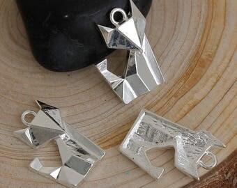 Origami Fox 22x16mm silver charm