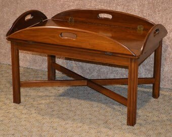 Ethan Allen Solid Cherry Butlers Table w/Stretcher Base