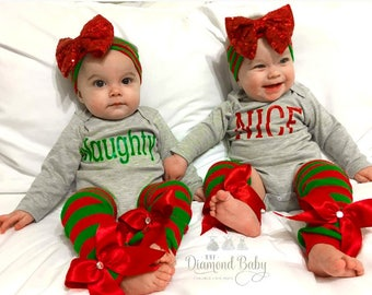 Matching Sibling Christmas Outfit-Babys first Christmas Outfi-Nice Christmas Outfit-Naughty Christmas Outfit
