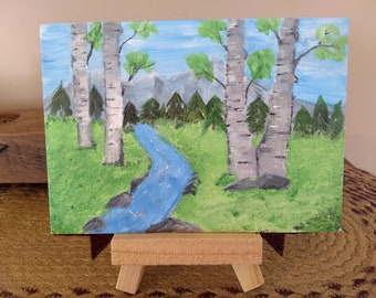 Acrylic painting of Mountains and river