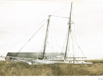 """The Slip and Storm at Sea painted by Andrew Wyeth. The image for Slip is 15 1/2"""" by 10 3/4"""". Storm at Sea is 16 1/2"""" by 8 1/2""""."""