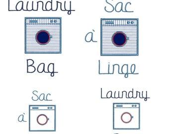 Laundry bag emrboidery machine design special LAUNDRY