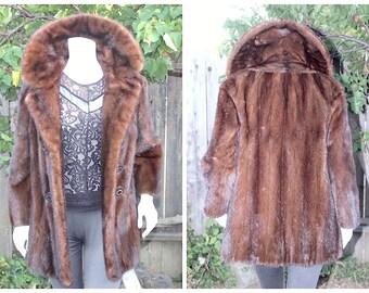 Breathtaking Genuine Ranch Mink Fur Dark Brown Mahogany Coat Size S+ / M Perfect Condition, Clean