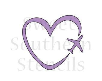 Love to Travel/Airplane Heart Cookie Stencil