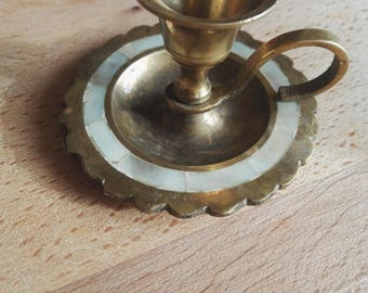 Vintage,Brass Candleholder,Nacre,Candlestick,Art Decor,Retro,Home Warming,Collectable