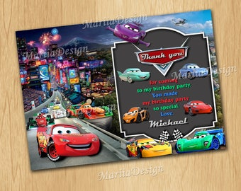 Cars Thank you Card, Cars Birthday Thank you Card, Cars Party Thank you Card, McQueen Thank you Card, Cars Thank you - ONLY FILE