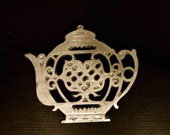Vintage Pewter Teapot Trivet
