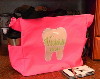 Personalized Dental Sparkling Tooth Tote Applique Embroidered Name w/Credentials 2 Side Pockets 15 Colors Great Gift Hygienist Dental Office
