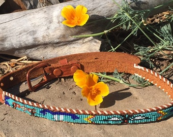 Vintage beaded belt with leather Native American thunderbird beaded design small size 27 inches 1970's souvenir