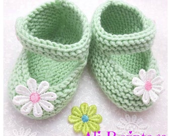 Baby girl shoes Baby knitted shoes Mary Jane style baby girl shoe Babies Knitted Shoe baby gift mint green lace white flower baby shower