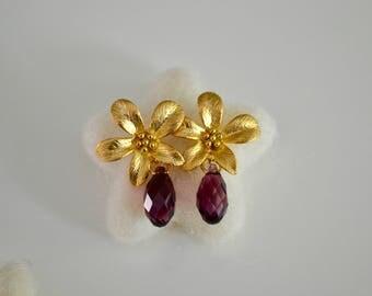 Purple earrings, swarovski drops