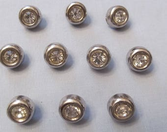 Ten Buttons, Silvery Plastic with Center Large Rhinestone, Vintage Chic