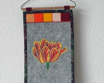 Small wall hanging/ art quilt with tulip