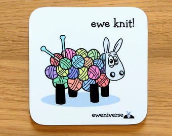 Cute knitting sheep coaster, Ewe knit! Fun coaster, Funny drinks mat set, Sheep gifts, Colorful homeware, gifts for knitters,Yarn gift, Wool