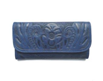 Women HandmadeTooled Cowhide Leather wallet. Trifold-Women's BLUE Leather Wallet-Leather Wallet, Leather Purse- Mothers day