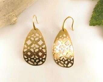 brass drops earrings
